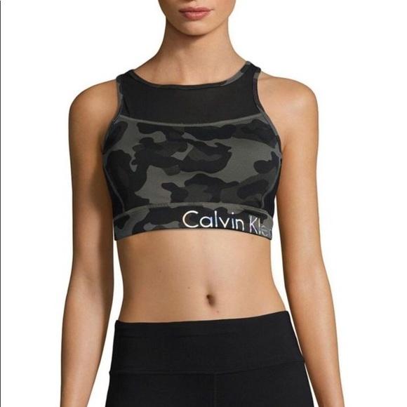 25eff7d7633be9 Calvin Klein Performance Mesh Camo Sports Bra